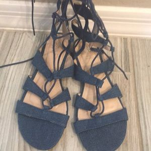 Denim gladiator tie up sandals